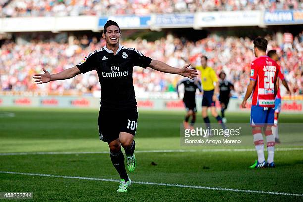 James Rodriguez of Real Madrid CF celebrates scoring their second goal during the La Liga match between Granada CF and Real Madrid CF at Nuevo...