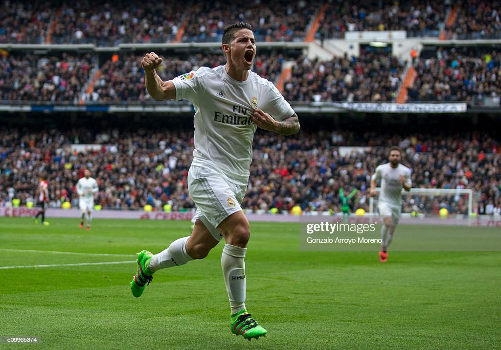 <a gi-track='captionPersonalityLinkClicked' href=/galleries/search?phrase=James+Rodriguez&family=editorial&specificpeople=4422074 ng-click='$event.stopPropagation()'>James Rodriguez</a> of Real Madrid CF celebrates scoring their second goal during the La Liga match between Real Madrid CF and Athletic Club at Estadio Santiago Bernabeu on February 13, 2016 in Madrid, Spain.