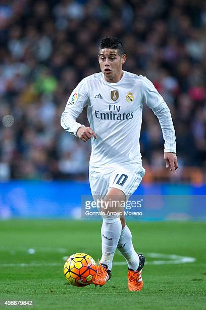 James Rodriguez of Real Madrid CF controls the ball during the La Liga match between Real Madrid CF and FC Barcelona at Estadio Santiago Bernabeu on...