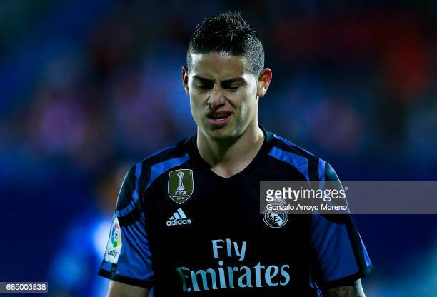 James Rodriguez of Real Madrid CF gestures during the La Liga match between CD Leganes and Real Madrid CF at Estadio Municipal de Butarque on April 5...