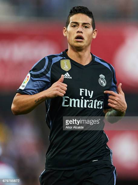 James Rodriguez of Real Madrid CF ilooks on during the La Liga match between Granada CF v Real Madrid CF at Estadio Nuevo Los Carmenes on May 6 2017...