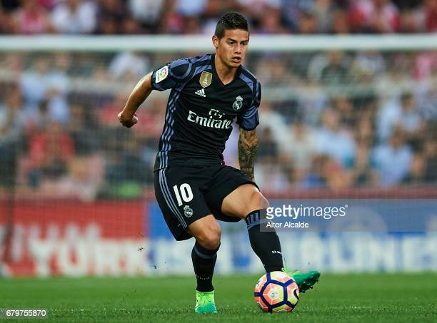 James Rodriguez of Real Madrid CF in action during the La Liga match between Granada CF v Real Madrid CF at Estadio Nuevo Los Carmenes on May 6 2017...