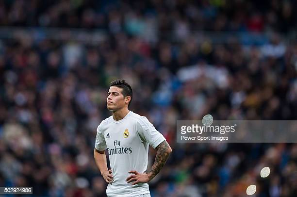 James Rodriguez of Real Madrid CF looks on during the Real Madrid CF vs Real Sociedad as part of the Liga BBVA 20152016 at Estadio Santiago Bernabeu...