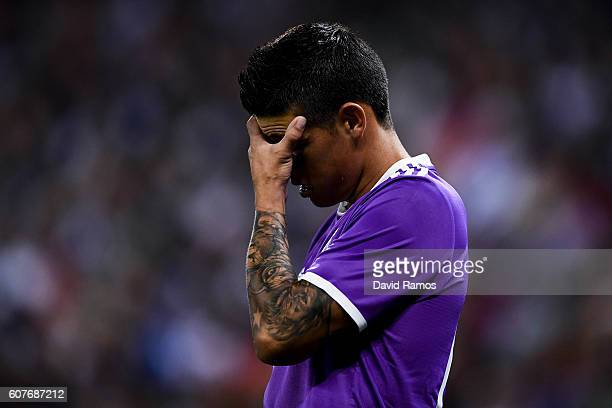James Rodriguez of Real Madrid CF reacts during the La Liga match between RCD Espanyol and Real Madrid CF at the RCDE stadium on September 18 2016 in...