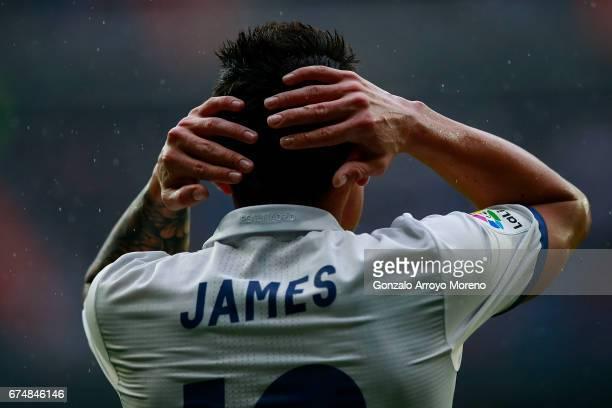 James Rodriguez of Real Madrid CF reacts during the La Liga match between Real Madrid CF and Valencia CF at Estadio Santiago Bernabeu on April 29...