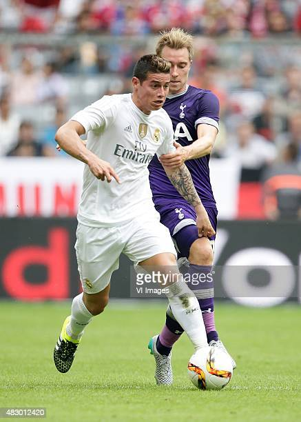 James Rodriguez of Real Madrid Christian Eriksen of Tottenham Hotspur during the AUDI Cup match between Real Madrid and Tottenham Hotspur on August 4...