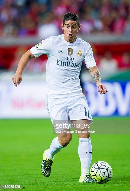 James Rodriguez of Real Madrid controls the ball during the La Liga match between Sporting Gijon and Real Madrid at Estadio El Molinon on August 23...
