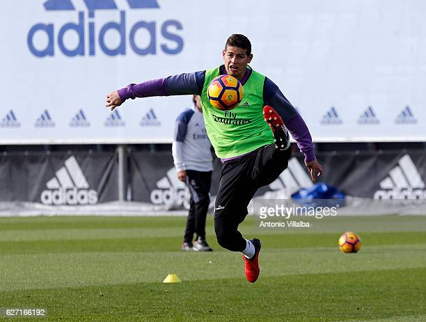 James Rodriguez of Real Madrid during a training session at Valdebebas training ground on December 2 2016 in Madrid Spain