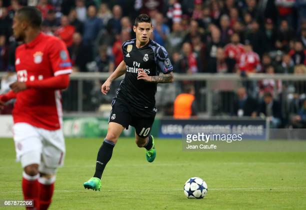 James Rodriguez of Real Madrid during the UEFA Champions League Quarter Final first leg match between FC Bayern Muenchen and Real Madrid CF at...