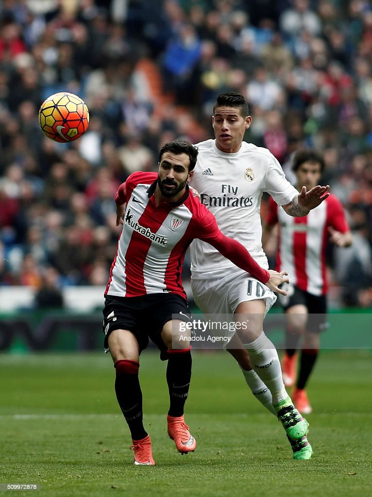 James Rodriguez (R) of Real Madrid in action during La Liga Football match between Real Madrid and Athletic Bilbao at Santiago Bernabeu Stadium in Madrid, Spain on February 13, 2016.