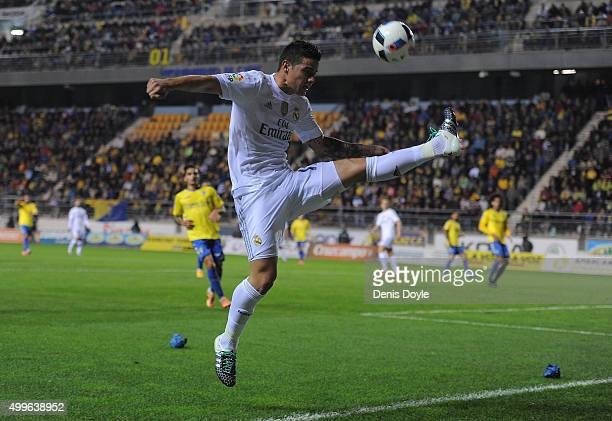 James Rodriguez of Real Madrid in action during the Copa del Rey Round of 32 First Leg match between Cadiz and Real Madrid at Ramon de Carranza...