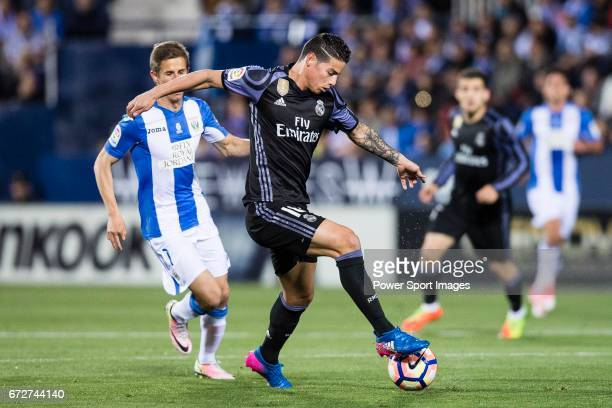 James Rodriguez of Real Madrid in action during their La Liga match between Deportivo Leganes and Real Madrid at the Estadio Municipal Butarque on 05...