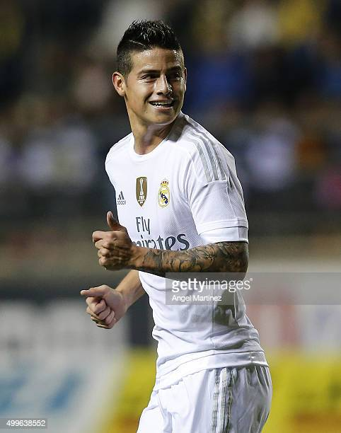 James Rodriguez of Real Madrid looks on during the Copa del Rey round of 32 first leg match between Cadiz and Real Madrid CF at Estadio Ramon de...