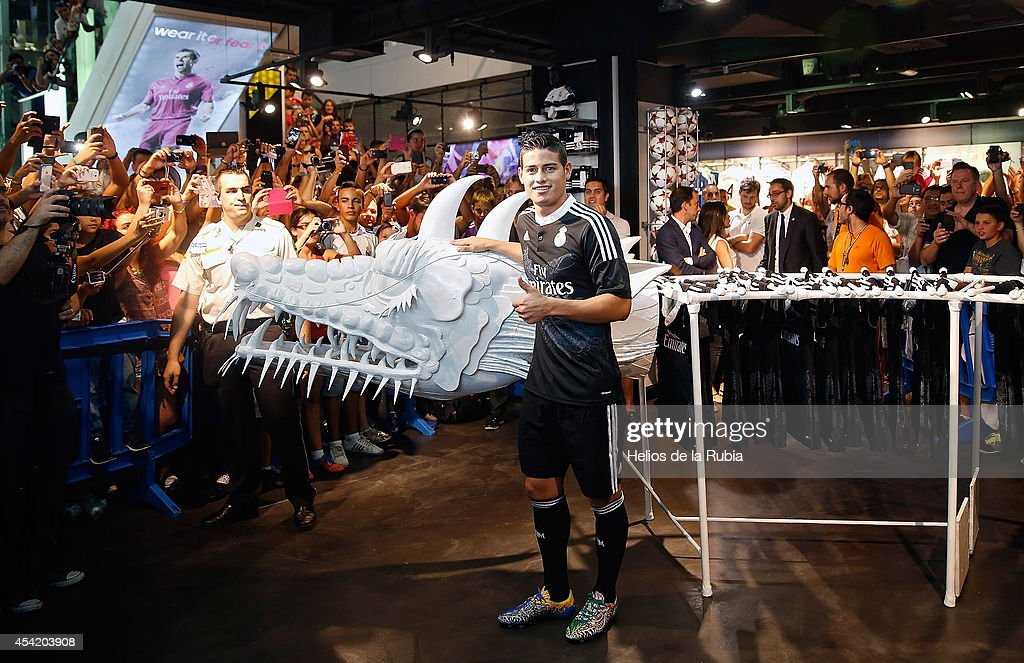 James Rodriguez of Real Madrid poses during the Adidas 3rd kit launch at Estadio Santiago Bernabeu on August 26, 2014 in Madrid, Spain.