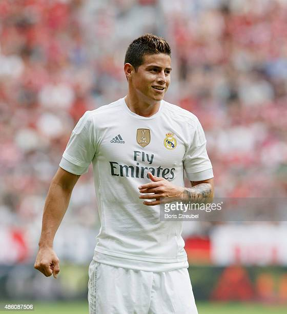 James Rodriguez of Real Madrid reacts during the Audi Cup 2015 match between Real Madrid and Tottenham Hotspur at Allianz Arena on August 4 2015 in...