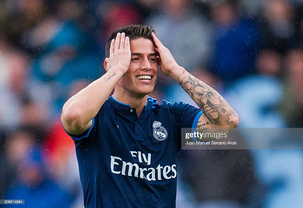 James Rodriguez of Real Madrid reacts during the La Liga match between Real Sociedad de Futbol and Real Madrid at Estadio Anoeta on April 30, 2016 in San Sebastian, .