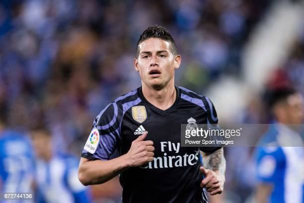 James Rodriguez of Real Madrid reacts during their La Liga match between Deportivo Leganes and Real Madrid at the Estadio Municipal Butarque on 05...