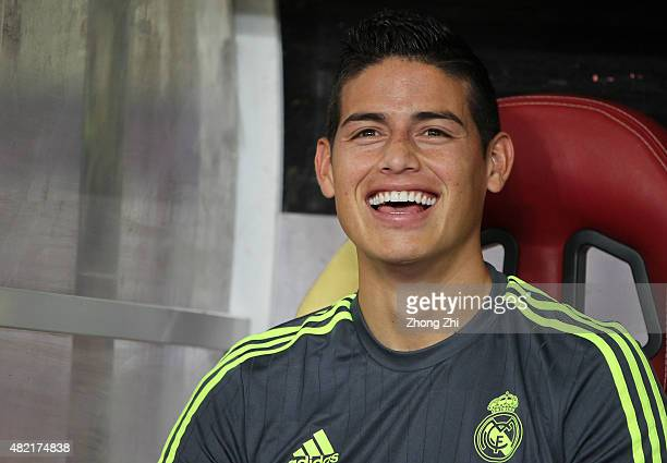 James Rodriguez of Real Madrid reacts on the bench during the match of International Champions Cup China 2015 between Real Madrid and FC...