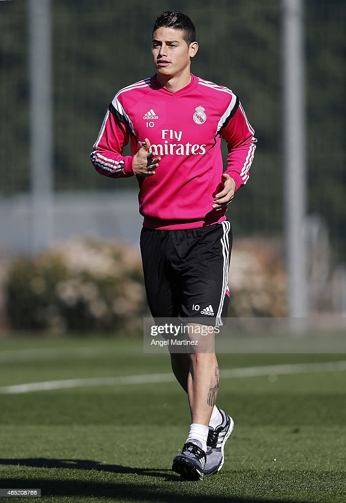 James Rodriguez of Real Madrid runs during a training session at Valdebebas training ground on March 4, 2015 in Madrid, Spain.