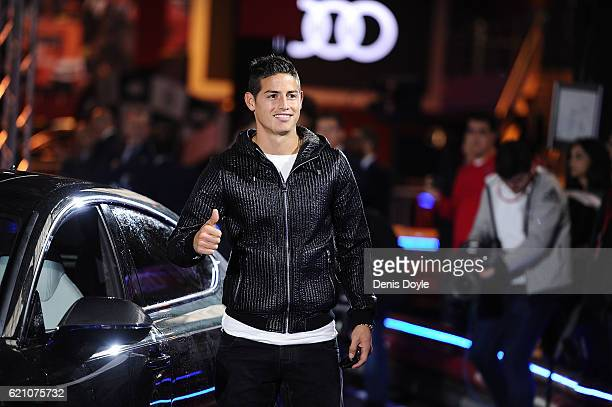 James Rodriguez of Real Madrid salutes before getting into his new Audi car for the 2016/2017 season at Carlos Sainz Center on November 4 2016 in...