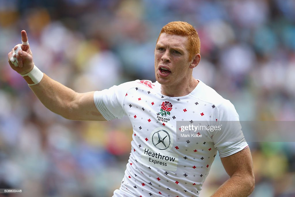 James Rodwell of England celebrates scoring a try during the 2016 Sydney Sevens cup quarter final match between Australia and England at Allianz Stadium on February 7, 2016 in Sydney, Australia.