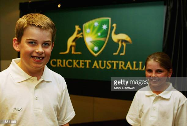 James Rudolph and Charlotte Kornacki unveil the new logo and brand name for the Australian Cricket Board at the ACB office in Melbourne Australia on...