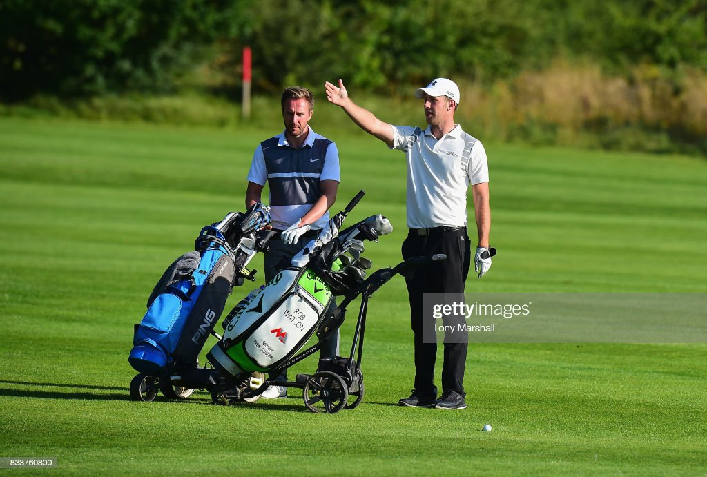 James Ruebotham of Welwyn Garden City Golf Club and Robert Watson of The Shire London on the 18th fairway during the Golfbreaks.com PGA Fourball Championship - Day 2 at Whittlebury Park Golf & Country Club on August 17, 2017 in Towcester, England.