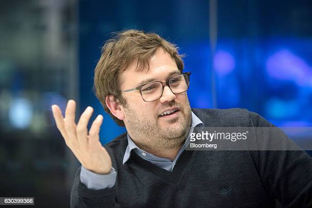 James Rushton chief executive officer of DAZN a Perform Group Ltd company gestures during an interview in London UK on Thursday Nov 10 2016 DAZN a...