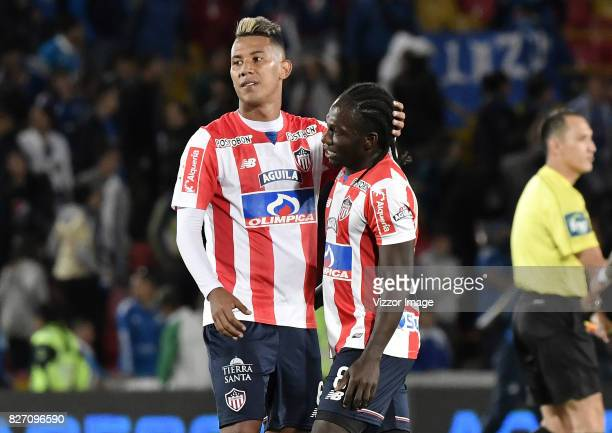 James Sanchez and Yimmi Chara of Atletico Junior celebrate after winning a match between Millonarios and Atletico Junior as part of Liga Aguila II...