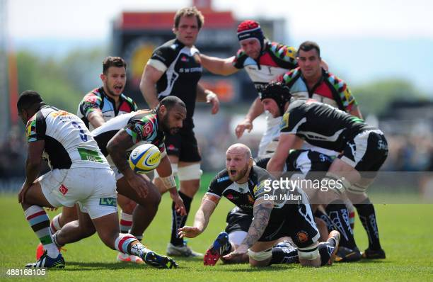 James Scaysbrook of Exeter Chiefs releases a pass during the Aviva Premiership match between Exeter Chiefs and Harlequins at Sandy Park on May 4 2014...