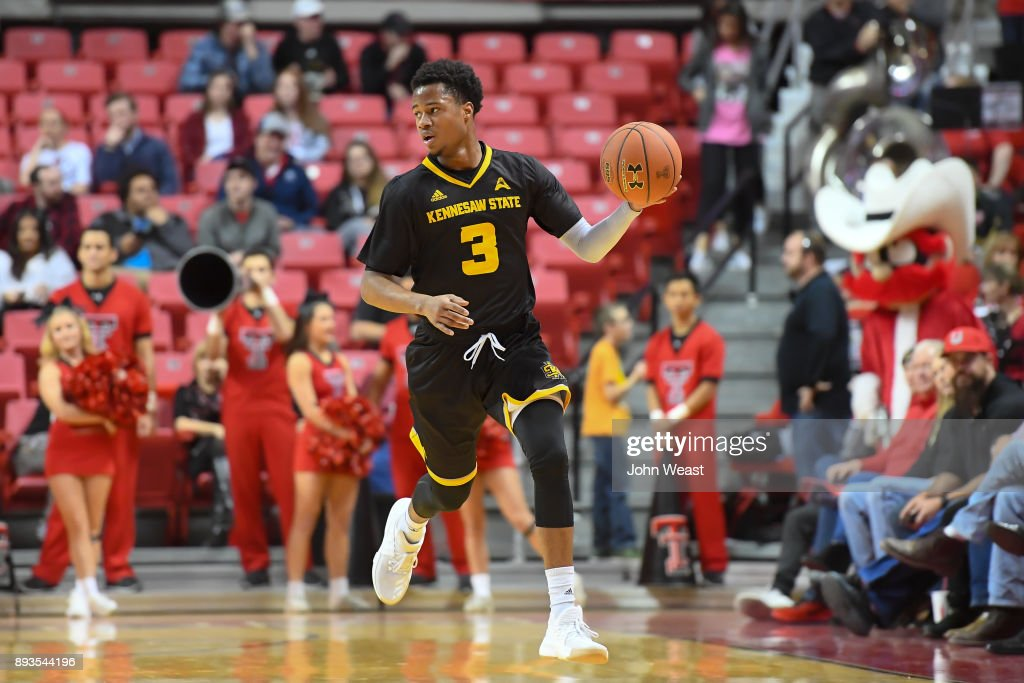 James Scott #3 of the Kennesaw State Owls brings the ball up court during the game against the Texas Tech Red Raiders on December 13, 2017 at United Supermarkets Arena in Lubbock, Texas. Texas Tech defeated Kennesaw State 82-53.