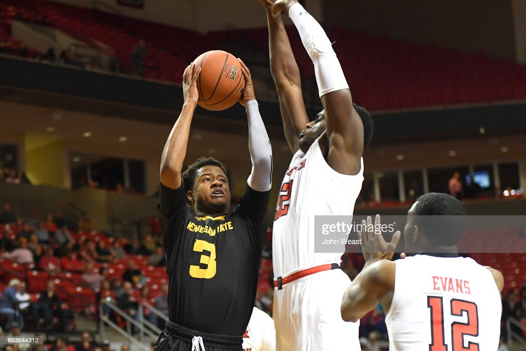 James Scott #3 of the Kennesaw State Owls goes to the basket against the defense of Norense Odiase #32 of the Texas Tech Red Raiders during the game on December 13, 2017 at United Supermarkets Arena in Lubbock, Texas. Texas Tech defeated Kennesaw State 82-53.