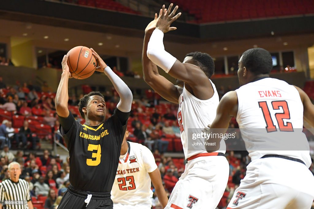 James Scott #3 of the Kennesaw State Owls goes to the basket during the game against the Texas Tech Red Raiders on December 13, 2017 at United Supermarkets Arena in Lubbock, Texas. Texas Tech defeated Kennesaw State 82-53.