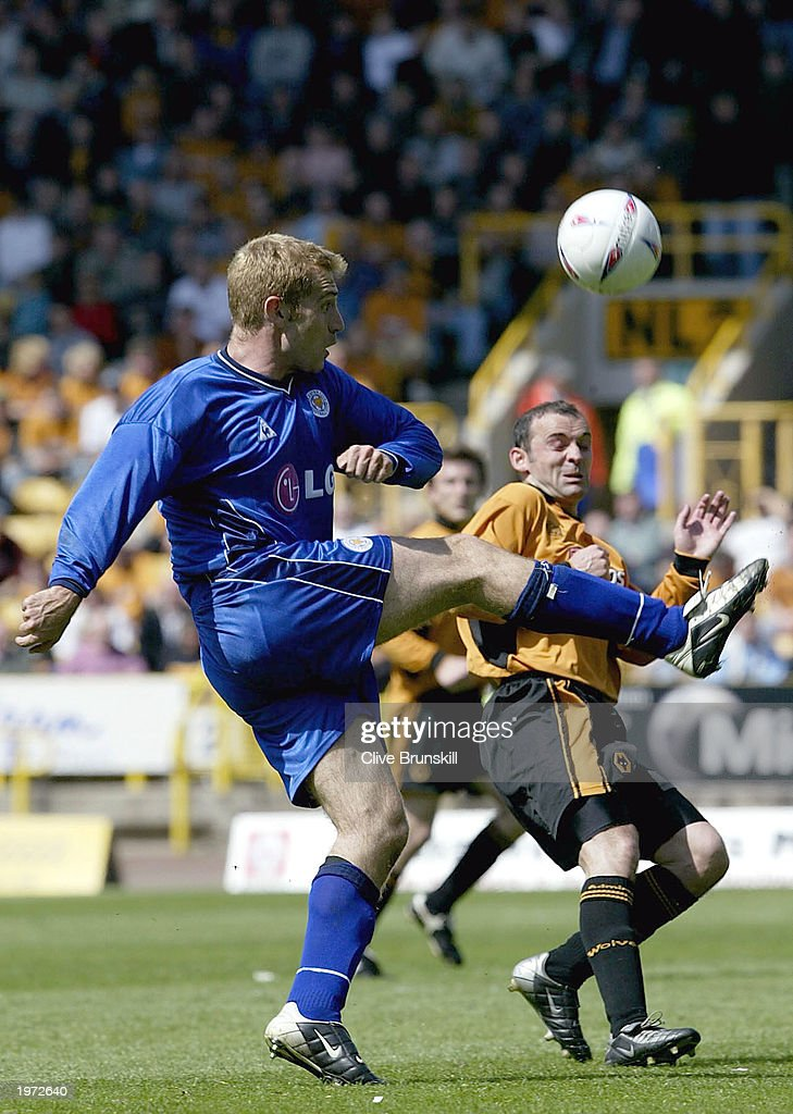 James Scowcroft of Leicester in action with Colin Cameron of Wolves during the The Nationwide First Division match between Wolverhampton Wanderers and Leicester City on May 4, 2003 at the Molineux Stadium in Wolverhampton, England.