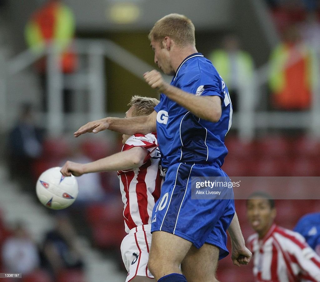 James Scowcroft of Leicester scores during the Nationwide League Division One match between Stoke City and Leicester City at the Britannia Stadium, Stoke on August 14, 2002.
