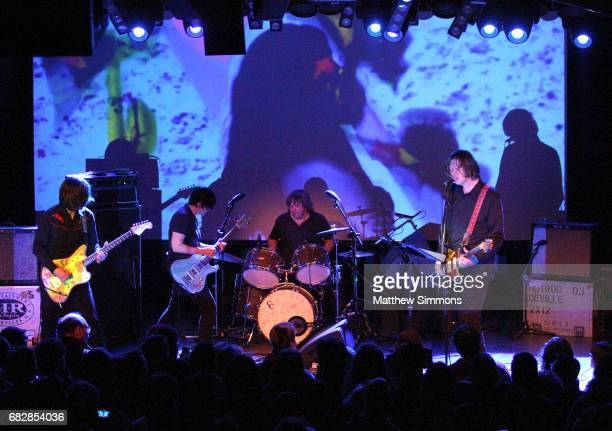 James Sedwards Deb Googe and Steve Shelley and Thurston Moore perform onstage at Teragram Ballroom on May 13 2017 in Los Angeles California