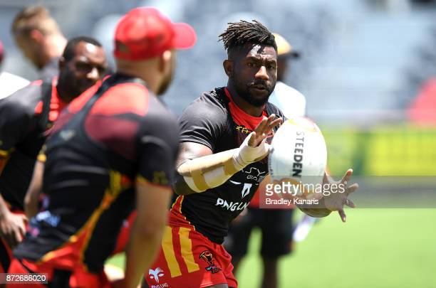 James Segeyaro catches the ball during a PNG Kumuls Rugby League World Cup captain's run on November 11 2017 in Port Moresby Papua New Guinea