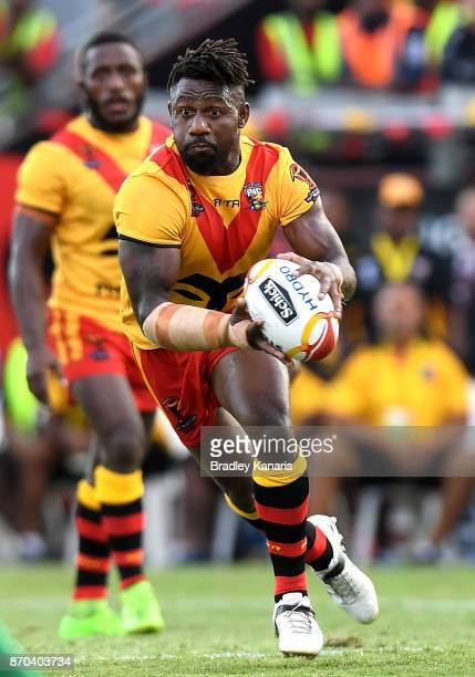 James Segeyaro of Papua New Guinea runs with the ball during the 2017 Rugby League World Cup match between Papua New Guinea Kumuls and Ireland on...
