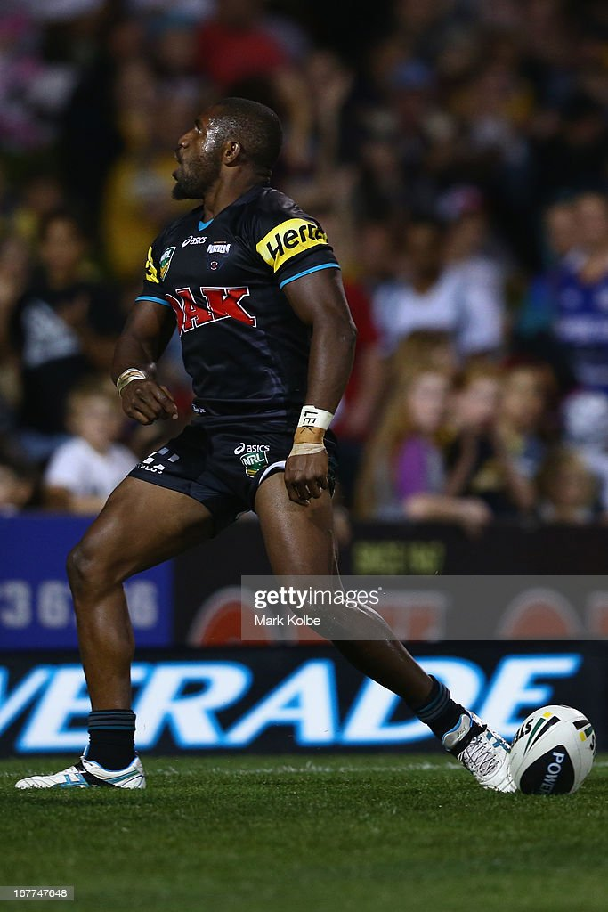 James Segeyaro of the Panthers celebrates scoring a try during the round seven NRL match between the Penrith Panthers and the Parramatta Eels at Centrebet Stadium on April 29, 2013 in Penrith, Australia.
