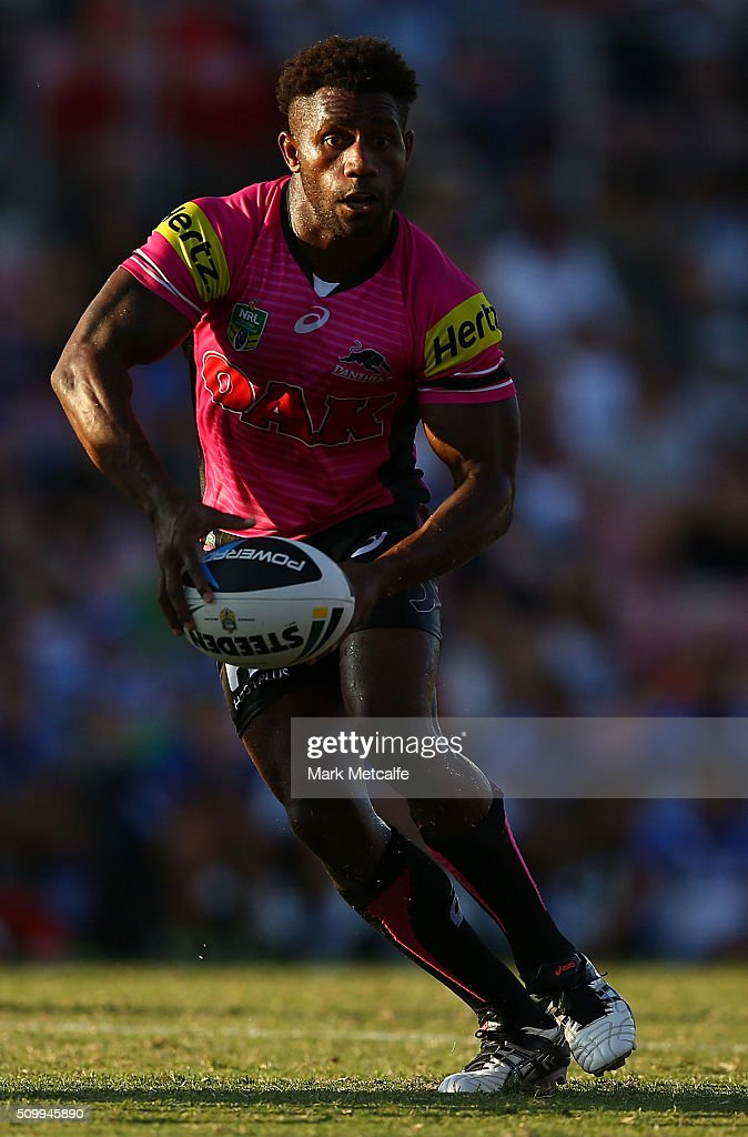 James Segeyaro of the Panthers in action during the NRL Trial match between the Canterbury Bulldogs and the Penrith Panthers at Pepper Stadium on February 13, 2016 in Sydney, Australia.
