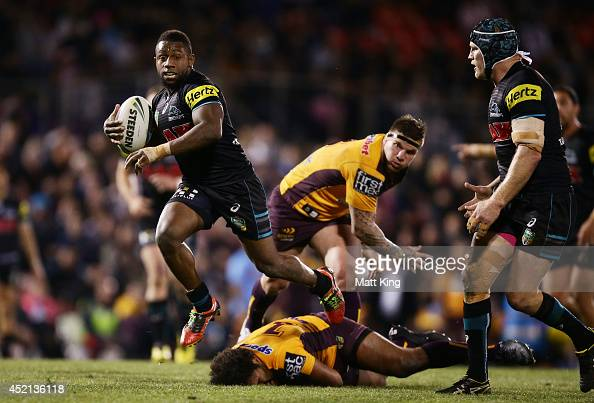 James Segeyaro of the Panthers makes a break during the round 18 NRL match between the Penrith Panthers and the Brisbane Broncos at Sportingbet...