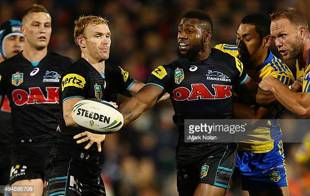 James Segeyaro of the Panthers offloads during the round 12 NRL match between the Penrith Panthers and the Parramatta Eels at Sportingbet Stadium on...