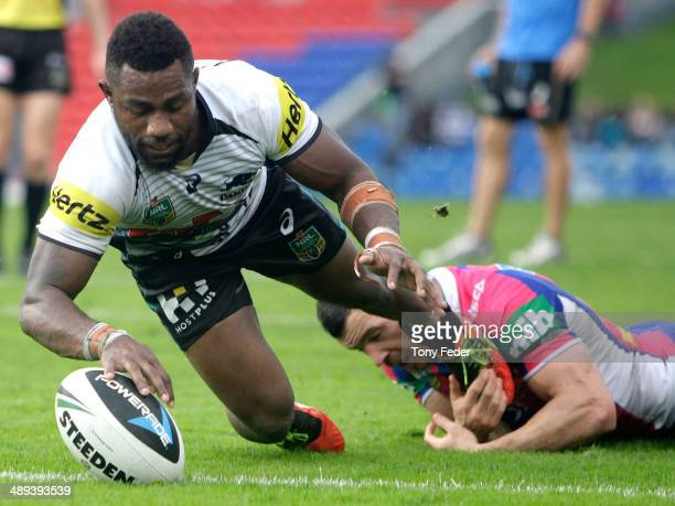 James Segeyaro of the Panthers scores a try during the round nine NRL match between the Newcastle Knights and the Penrith Panthers at Hunter Stadium...