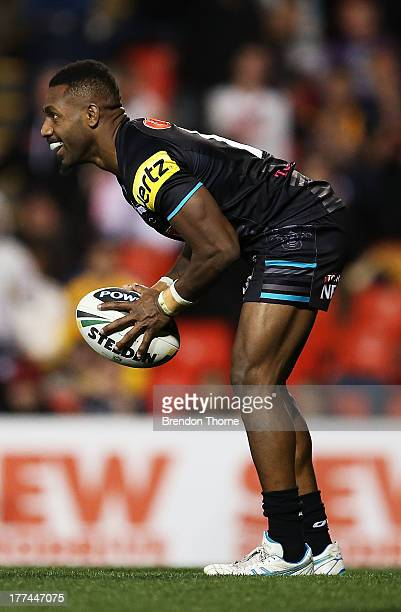 James Segeyaro of the Panthers scores his third try during the round 24 NRL match between the Penrith Panthers and the Brisbane Broncos at Centrebet...