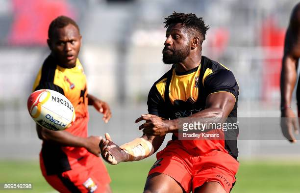 James Segeyaro passes the ball during a Papua New Guinea Kumuls Rugby League World Cup training session at the Oil Search National Football Stadium...