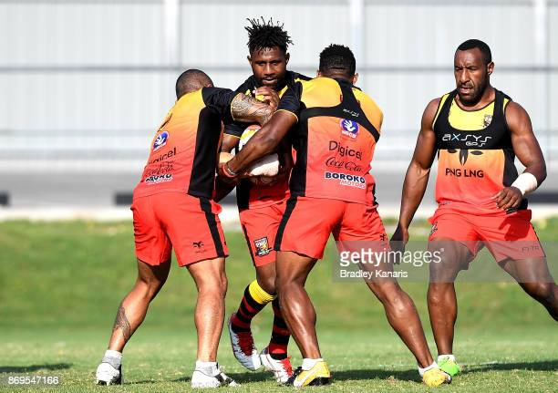 James Segeyaro takes on the defence during a Papua New Guinea Kumuls Rugby League World Cup training session at the Oil Search National Football...