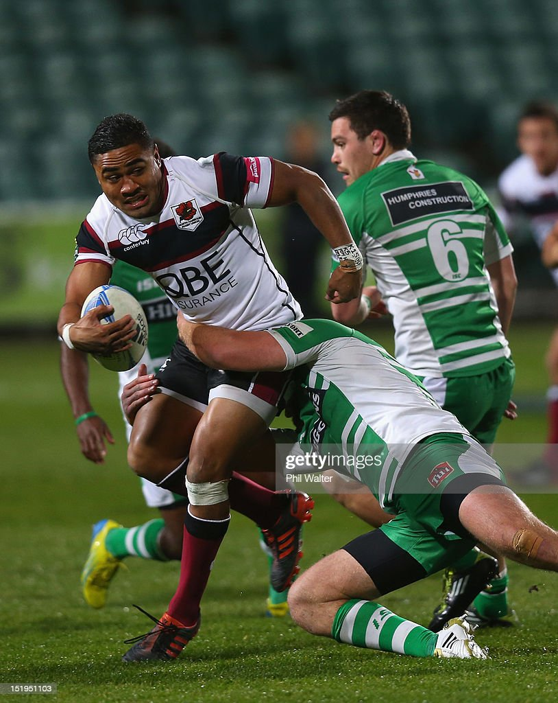 James Semple of North Harbour is tackled during the round seven ITM Cup match between North Harbour and Manawatu at North Harbour Stadium on September 13, 2012 in Auckland, New Zealand.