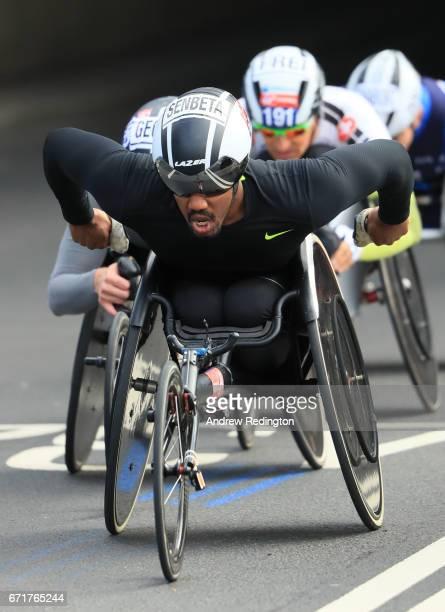 James Senbeta of the United States competes during the Virgin Money London Marathon on April 23 2017 in London England
