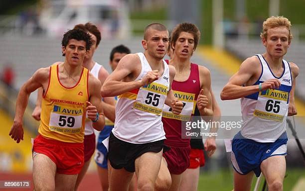 James Senior and Guy Learmonth in action in the Senier Boys 800 metres heats during Aviva English Schools Track Field Championships at Don Valley...