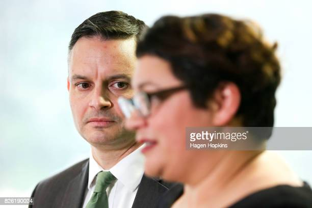 James Shaw looks on while Metiria Turei speaks during a press conference on August 4 2017 in Wellington New Zealand The Green Party coleader came...